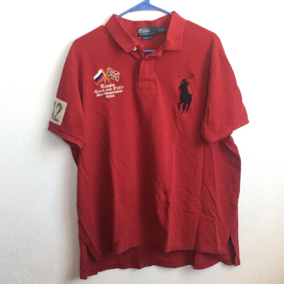 Xxl Lauren Men's Custom Red Shirt Polo Ralph PTOZwiXku